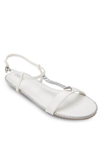編織拼esprit台灣outlet接平底涼鞋, 女鞋, 鞋