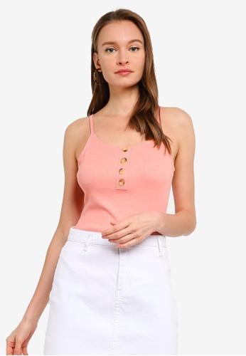 Brave Soul pink Spaghetti Strap Button Through Bodysuit B5D64AAB7E1C65GS_1