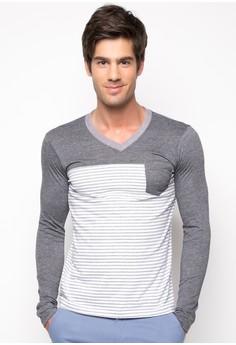 Huker Long Sleeve V Neck Shirt with Combination Details