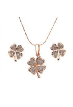 Treasure by B&D S039 Delicate Clover Pendant Czech Drilling Necklace & Earrings Party Jewellery Set