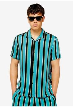 daa682d8a Topman multi Teal Block Stripe Revere Shirt 55924AACA9971FGS_1