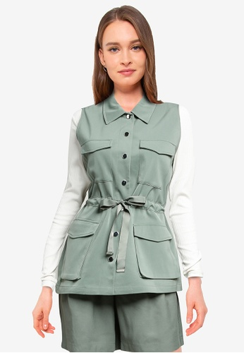 Vero Moda green Paula Sleeveless Waistcoat 00B95AAEC6973BGS_1