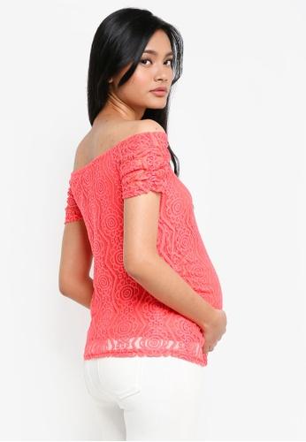 82fcb66e44aa5 Buy Dorothy Perkins Maternity Coral Lace Bardot Top Online