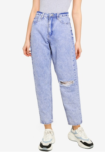 MISSGUIDED blue Riot Single Busted Knee Mom Jeans 739E2AAF4F9F96GS_1