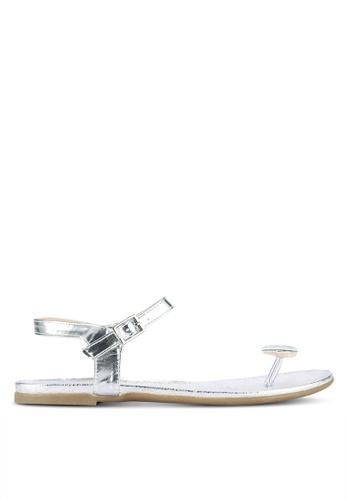 Nose silver Diamond Round Stone Clip Toe Flat Sandals NO327SH0RL1SMY_1
