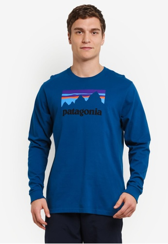 Patagonia blue Long Sleeve Shop Sticker Cotton T-Shirt PA549AA0RQCFMY_1
