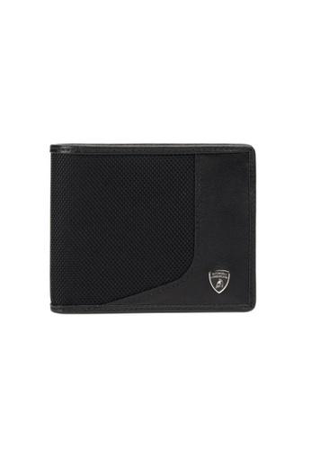 LAMBORGHINI black Automobili Lamborghini® Wired Black Calf Leather and Nylon Wallet and Credit Cards holder 19924AC72466A4GS_1