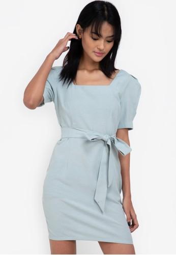 ZALORA BASICS green Square Neck Puff Sleeve Mini Dress 230FCAA8D97F95GS_1