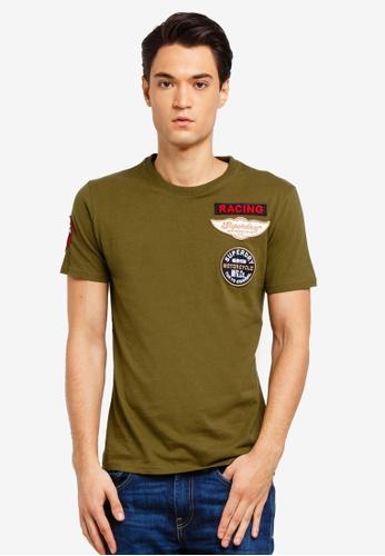 Superdry 綠色 短袖品牌刺繡T恤 FE0F4AAD9EB4A5GS_1