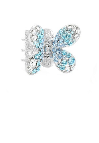Glamorousky silver Butterfly Hair Clip in Light Blue and Silver Austrian Element Crystals 6DD78ACD149B1FGS_1