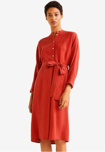 Mango red Bow Soft Dress 74FF2AA9B7DBEAGS_1