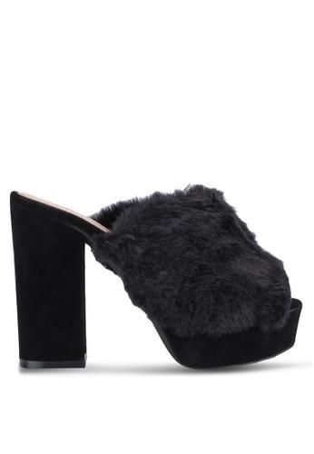 Abigail 仿毛絨露趾厚底高跟穆勒鞋, zalora是哪裡的牌子女鞋, 鞋
