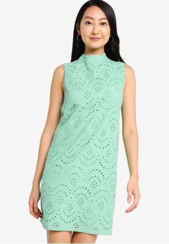 ZALORA BASICS green Eyelet Shift Dress 97475AA36DB458GS_1