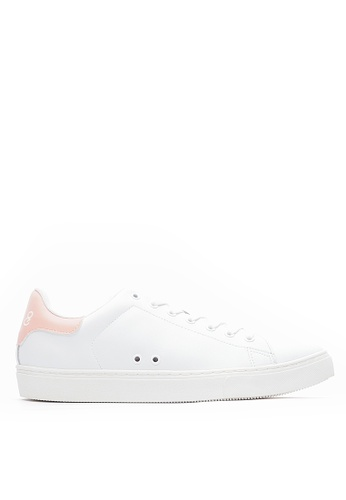 Life8 pink Contrast Color Round-Toe Lace-Up Shoes-09813-White and Pink DF783SH926878EGS_1