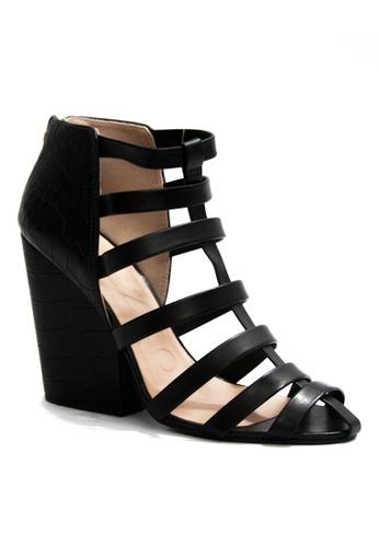 Covet black Miezko Clara Vitello Croco Strappy Heeled Sandals CO331SH35EMUPH_1