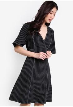 【ZALORA】 Collection 條紋短袖洋裝