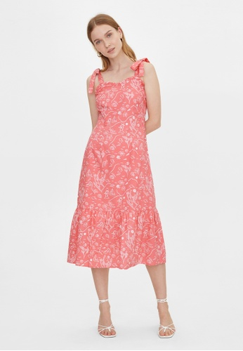 Pomelo pink Purpose Beach Print Bow Tie Dress - Pink 5EB7DAA194F830GS_1