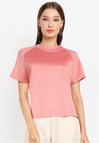 ZALORA WORK pink Mock Neck Ovoid Sleeve Top AF6CEAAEB18818GS_1