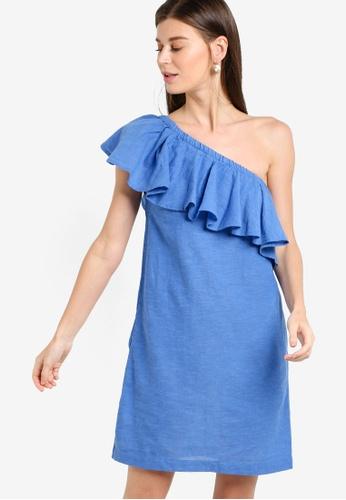 WAREHOUSE blue Ruffle One Shoulder Dress WA653AA54EBTMY_1