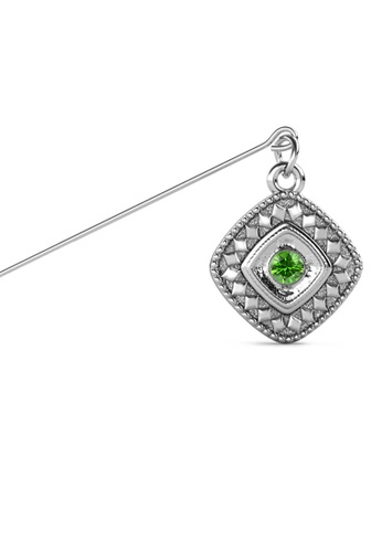 Her Jewellery green and silver Kamya Brooch (August) - Made with premium grade crystals from Austria A7476AC0A0A9D5GS_1