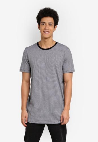 Cotton On 黑色 and 白色 休閒短袖長版T恤 B4F52AAD07D5F2GS_1