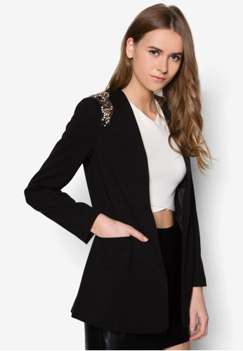 閃zalora 心得飾肩章西裝外套, 服飾, 夾克 & 大衣