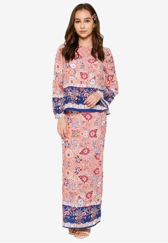Lubna pink and blue Placement Print Kurung Kedah 3C3F5AA61EA463GS_1