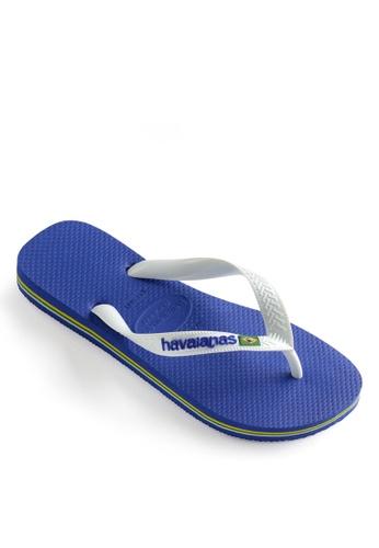 Havaianas blue Brasil Logo Flip Flops DDCC7SH74517D3GS_1