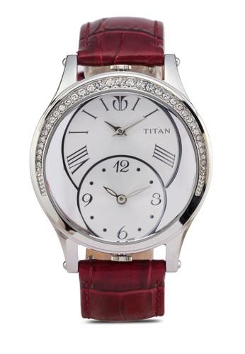 Titan  9923SL01 esprit台灣官網雙指針區水鑽皮革錶, 錶類, 皮革錶帶