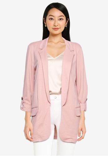 ZALORA BASICS pink Longline Knit Blazer 1D0B2AA9A19E61GS_1