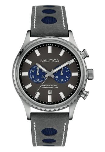 NAUTICA grey Nautica Amazone NMS02 Grey Leather Strap NA146AC77OBASG_1