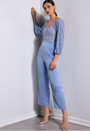 ZALORA OCCASION blue Lace Bodice Jumpsuit EE2CDAAC7547AEGS_1