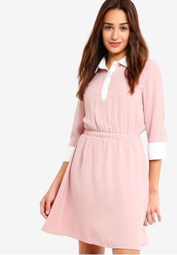 ZALORA pink Contrast Fit And Flare Dress 0164CAAB1DD9D0GS_1