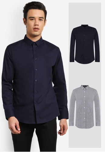 ZALORA black and navy 2 Pack Slim Fit Plain & Checked Poplin Long Sleeve Shirt ZA819AA0RO0WMY_1