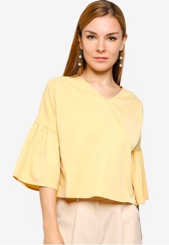 ZALORA WORK yellow Gathered Sleeves V Neck Top 98B68AA097E563GS_1