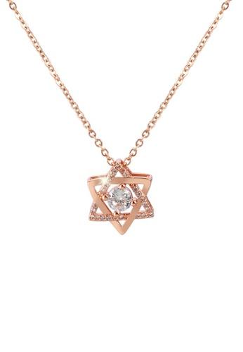 CELOVIS gold CELOVIS - Mystique Hexagram Star with Zirconia Pendant Necklace in Rose Gold Pink AF2DFACC30FE7AGS_1