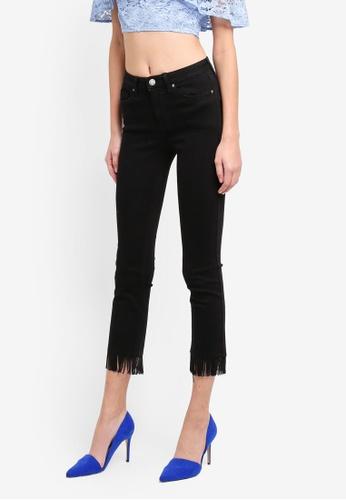 Miss Selfridge black Tassle Hem Lizzie Jeans MI665AA0STCSMY_1
