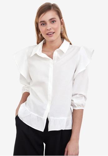 Trendyol white Ruffle Shoulder Detail Shirt 12246AAD50EC10GS_1
