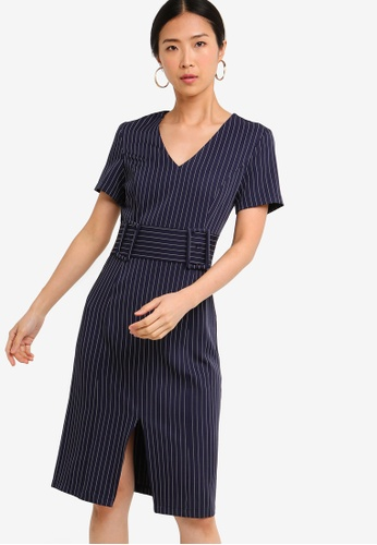 ZALORA BASICS multi Basic Pencil Dress With Double Buckle AEB9BAAAAE1EB7GS_1