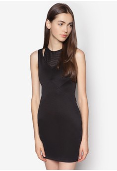 Contrast Slit Fitted Dress
