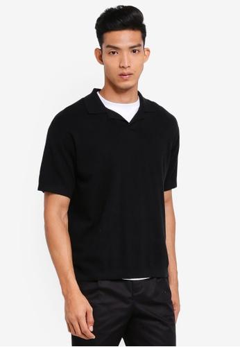 AT TWENTY black Oversize Knit Polo 9A5E4AA36264A5GS_1