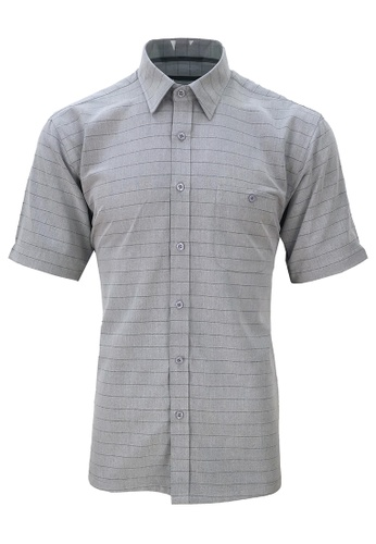 Pacolino grey Pacolino [Official] - (Regular) Grey Color Stripe Formal Casual Short Sleeve Men Shirt - 11620-S0005-A B4A70AA6048859GS_1