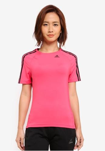 adidas pink adidas d2m tee 3s AD372AA0SUIMMY_1