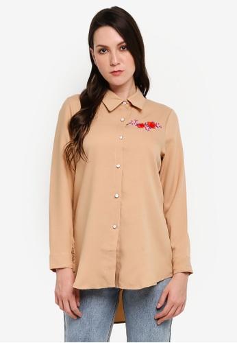 BYN beige Embroidery Shirt 6BB54AABB9A99BGS_1
