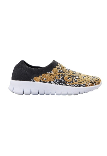 F-KNIT black Ladies Slip-On Pattern Sneaker FK273SH72XELHK_1