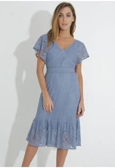 cfbaaf68f35 FORCAST blue Valerie V-Neck Lace Dress 3C0F3AAF75B220GS 1