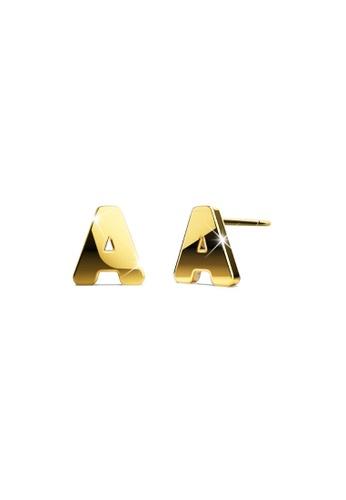 Bullion Gold gold BULLION GOLD Dainty Alphabet Letter Earring Gold Layered Steel Jewellery - A A2F66AC4E7DFF1GS_1