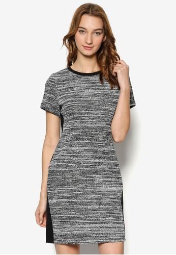 色塊拼接針織短esprit tw袖連身裙, 服飾, 服飾