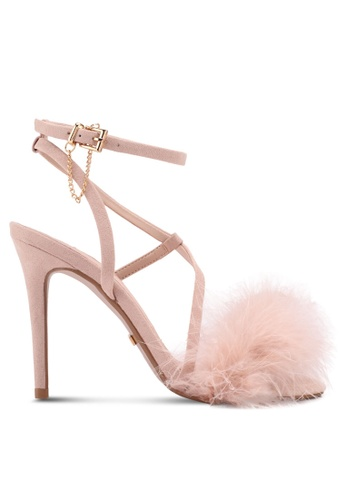 TOPSHOP beige Racey Feathered Heeled Sandals 4ED29SH3BF1E76GS_1
