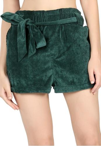 London Rag green Green High Waist Shorts with Belt 7FFF8AA5E111E0GS_1